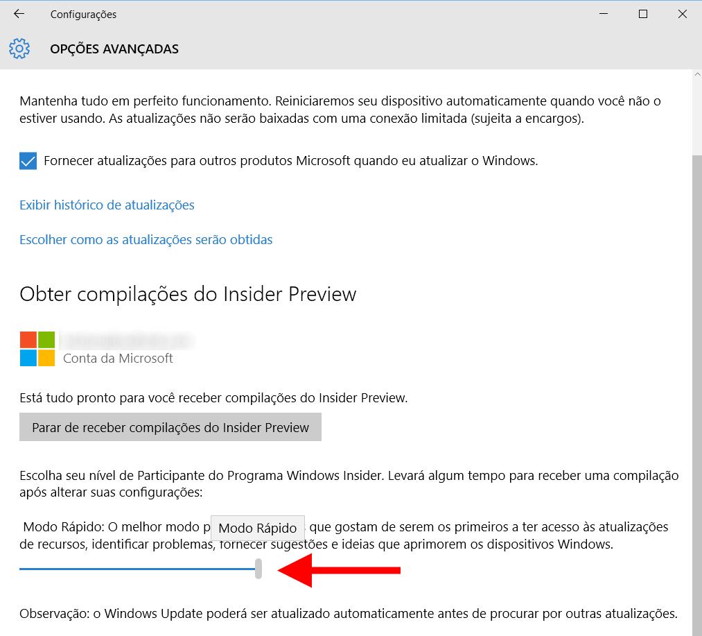 windows 10 pc fast ring modo rapido