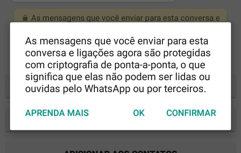 criptografia whatsapp android aviso