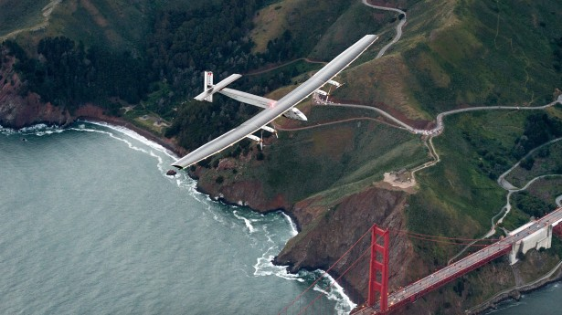 Solar Impulse 2 flies over the Golden Gate Bridge in San Francisco, Saturday, April 23, 2016. The solar-powered airplane, which is attempting to circumnavigate the globe to promote clean energy and the spirit of innovation, arrived from Hawaii after a three-day journey across the Pacific Ocean. (AP Photo/Noah Berger)