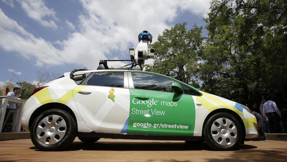 Google car is presented to the media in Athens on Thursday, June 5, 2014. Google has launched its Street View map service in Greece after winning approval from the privacy authority that blocked the ground-level map application five years ago. (AP Photo/Thanassis Stavrakis)