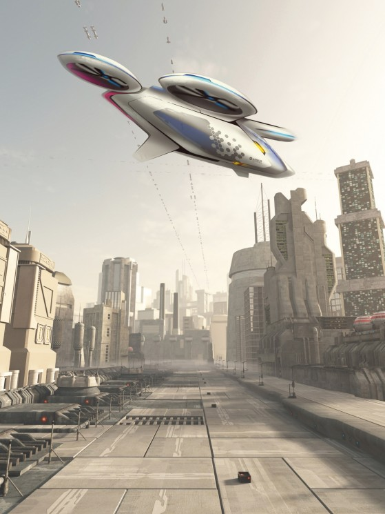Science fiction illustration of a future city street with space cruiser and other aerial traffic overhead in hazy sunshine, 3d digitally rendered illustration.