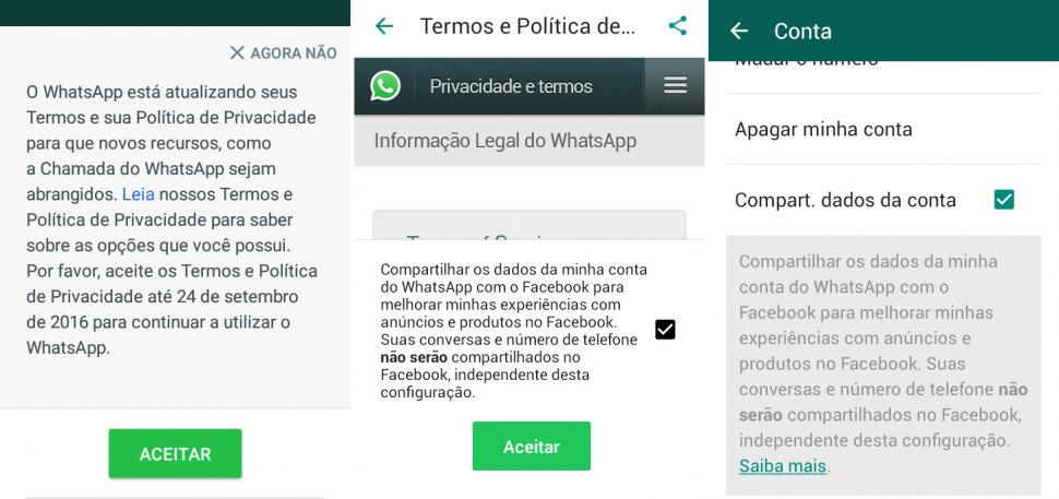 whatsapp novos termos