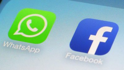 Logotipo do WhatsApp ao lado do logo do Facebook
