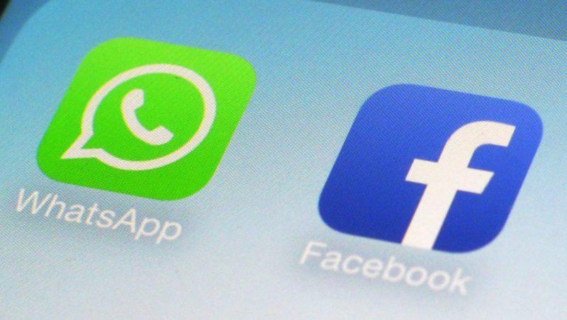 Logotipo do WhatsApp ao lado do logo do Facebook
