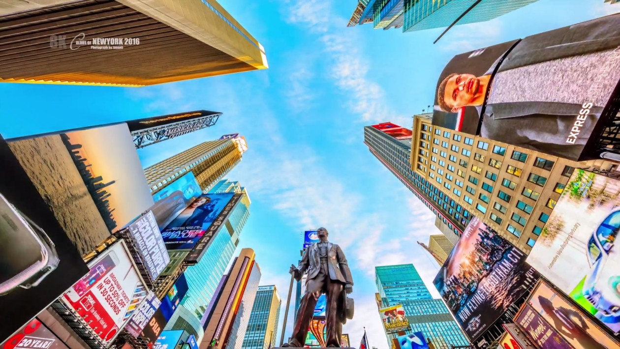 A cidade de Nova York fica ainda mais atraente e mais colorida neste vídeo em 8K