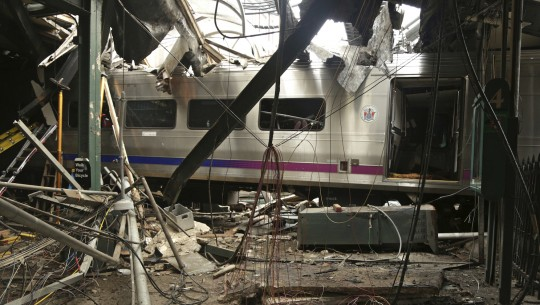 FILE – This Oct. 1, 2016, file photo provided by the National Transportation Safety Board shows damage from a Sept. 29, 2016, commuter train crash that killed a woman and injured more than 100 people at the Hoboken Terminal in Hoboken, N.J. Thomas Gallagher, the engineer of the commuter train that slammed into the station going double the 10 mph speed limit, suffered from sleep apnea that had gone undiagnosed, two U.S. officials told The Associated Press on Wednesday, Nov. 16, 2016. (Chris O'Neil/National Transportation Safety Board via AP, File)