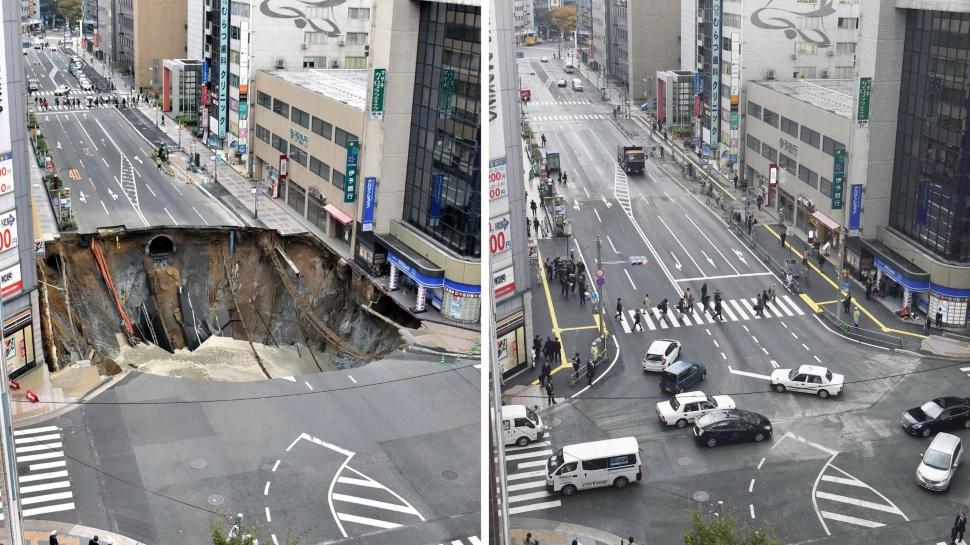 Um buraco enorme em uma avenida no Japão foi consertado em menos de uma semana