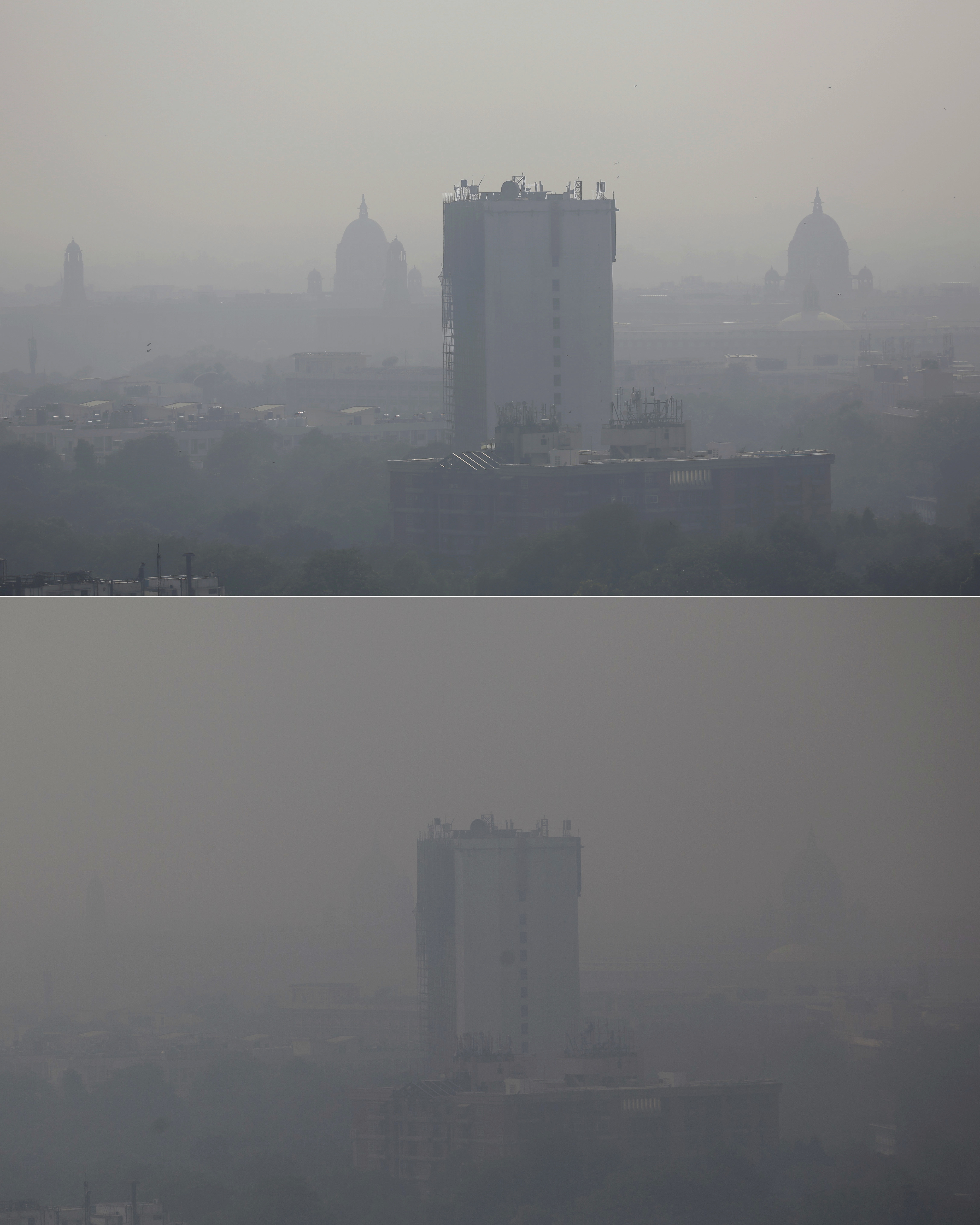 In this combination of two photos, the New Delhi skyline is seen enveloped in smog on Friday, Oct. 28, 2016, top, and a day after Diwali festival on Monday, Oct. 31, 2016, bottom. As Indians wake Monday to smoke-filled skies from a weekend of festival fireworks for the Hindu holiday of Diwali, New Delhi's worst season for air pollution begins, with dire consequences. A new report from UNICEF says about a third of the 2 billion children in the world who are breathing toxic air live in northern India and neighboring countries, risking serious health effects including damage to their lungs, brains and other organs. (AP Photo/Altaf Qadri, top, and Tsering Topgyal, bottom)