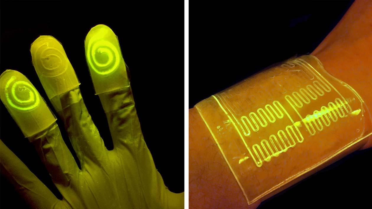 Esta luva maluca brilha quando você toca em certos químicos