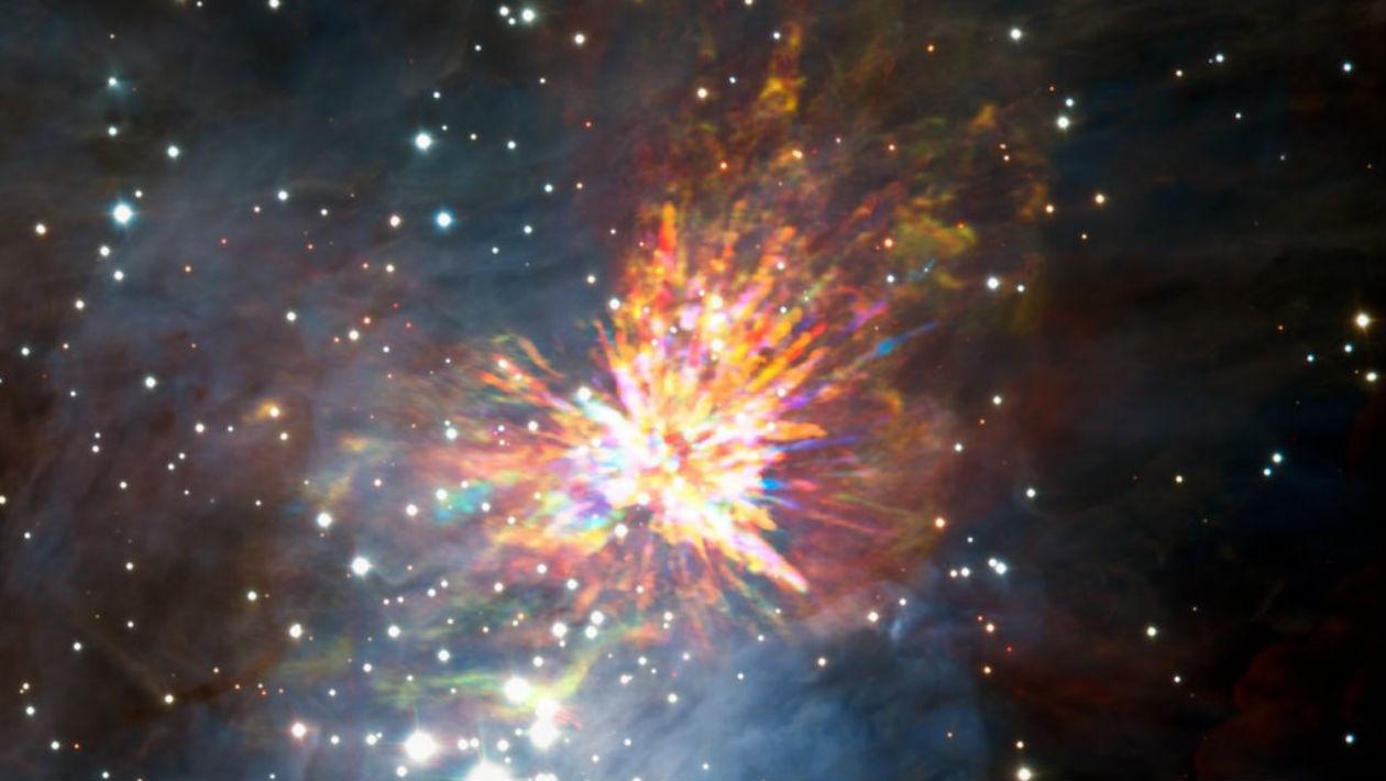 Esta bela bagunça deixada pela colisão de duas protoestrelas pode revelar muito aos cientistas