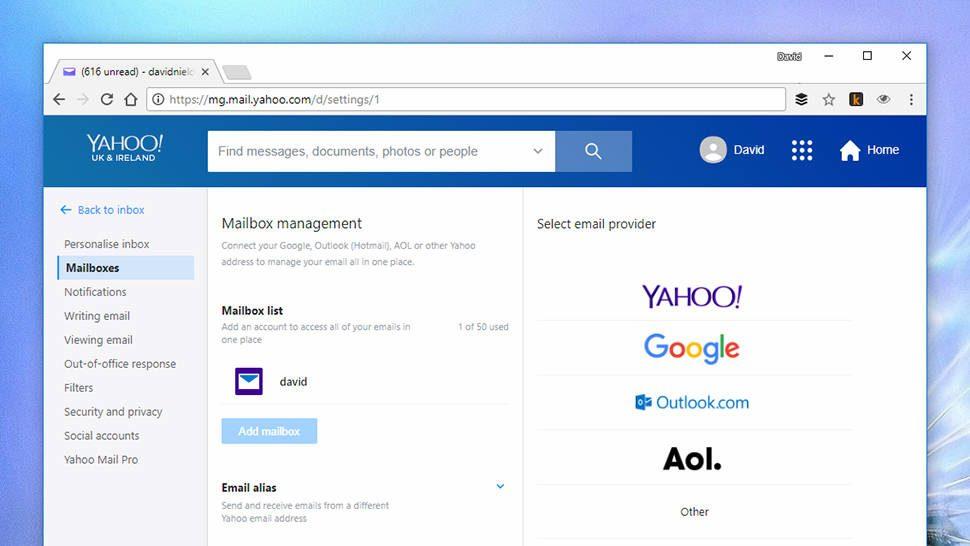 8baec52ee Yahoo Mail pode importar outras contas com apenas alguns cliques. (Imagem   Captura de tela)