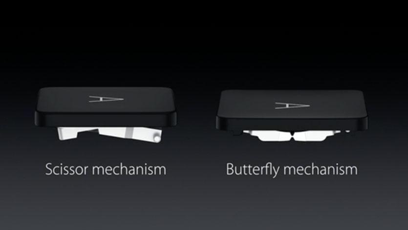 Diferença entre o teclado tesoura (usado na maioria dos computadores) e do mecanismo borboleta (usado em laptops da Apple)