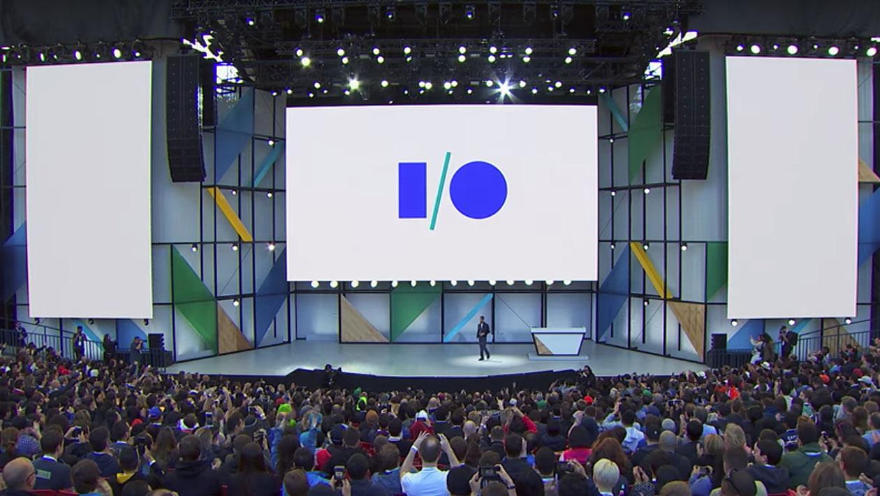 Palco do Google I/O na edição de 2018