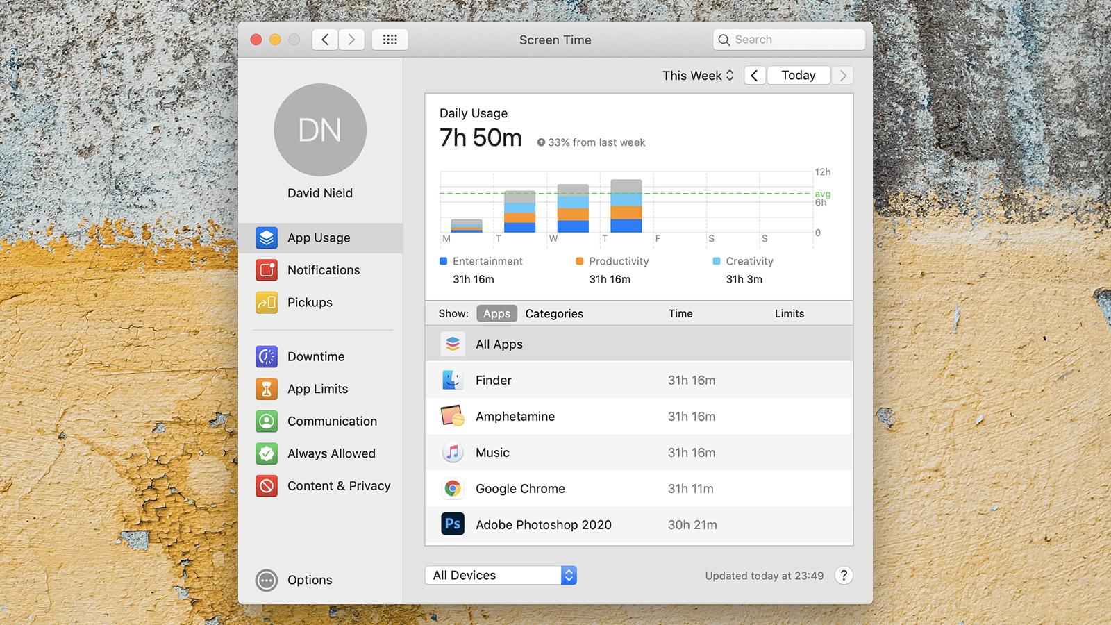 Recurso Tempo de Uso (Screen Time) no macOS
