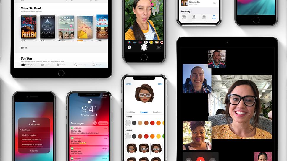 Imagem com várias telas do iOS 12, da Apple
