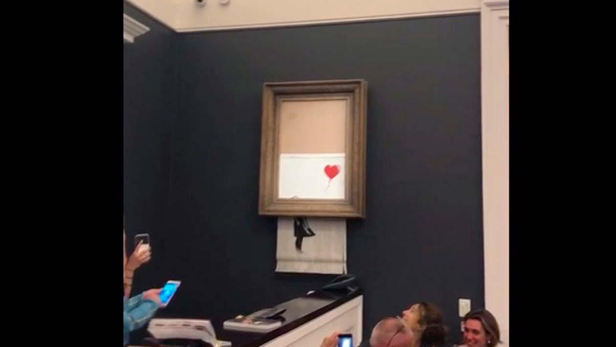 Obra de arte de Banksy se autodestrói após ser vendida por mais de US$ 1 milhão