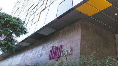 Fachada da entrada do prédio do Nubank em São Paulo. Crédito: Nubank