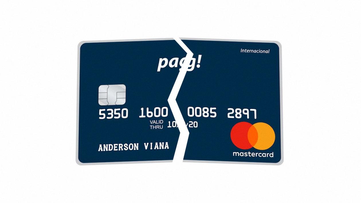 Ilustração do cartão de crédito Meu Pag! quebrado ao meio