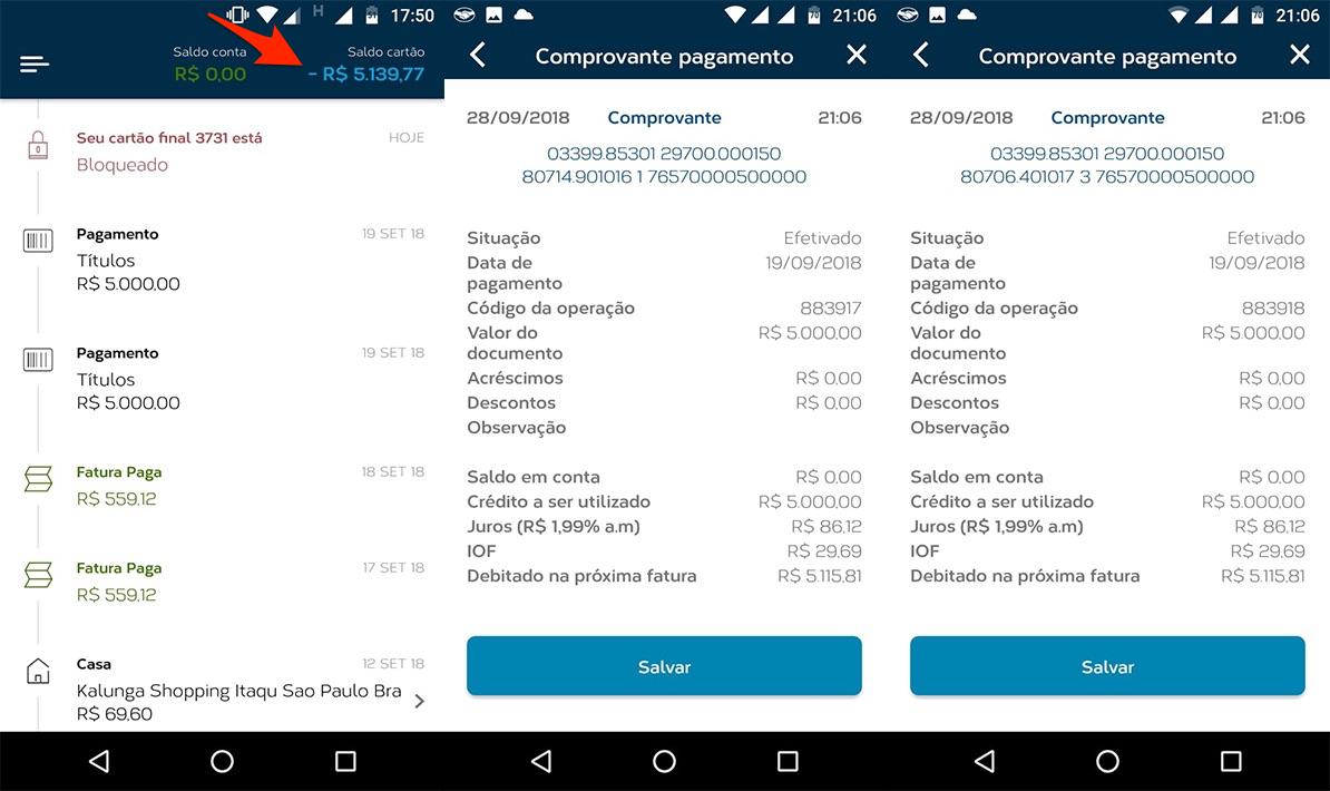 Imagens mostram pagamento de dois títulos de R$ 5.000 e saldo de cartão de crédito negativo no aplicativo.