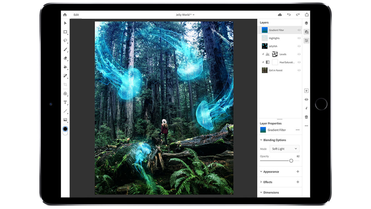 Interface do Photoshop para iPad Pro