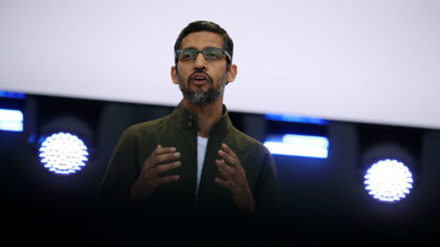 Sundar Pichai durante evento do Google
