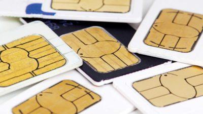 SIM cards amontoados