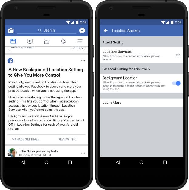 Imagem de duas capturas de tela do app do Facebook para Android. Na esquerda, um texto de alerta sobre a nova configuração de localizações. Na direita, a tela de configurações de localização com as opções Location Services e Background Location.