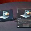 Monitor externo USB-C ThinkVision M14 ao lado de um notebook