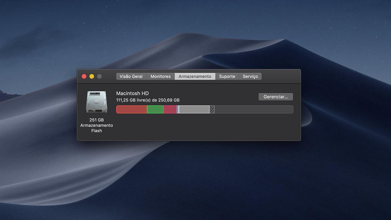 Menu mostra armazenamento restante no Mac