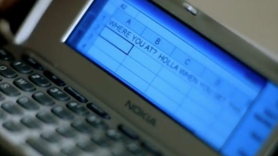 Parte do clipe Dilemma em que há uma mensagem de texto no Excel