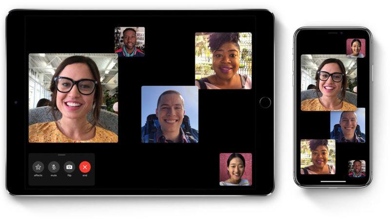 Tela do aplicativo FaceTime em uma chamada em grupo