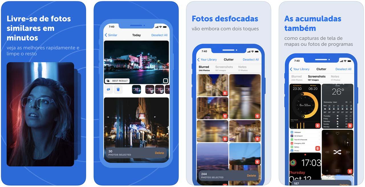 Telas do aplicativo Gemini Photos do iOS