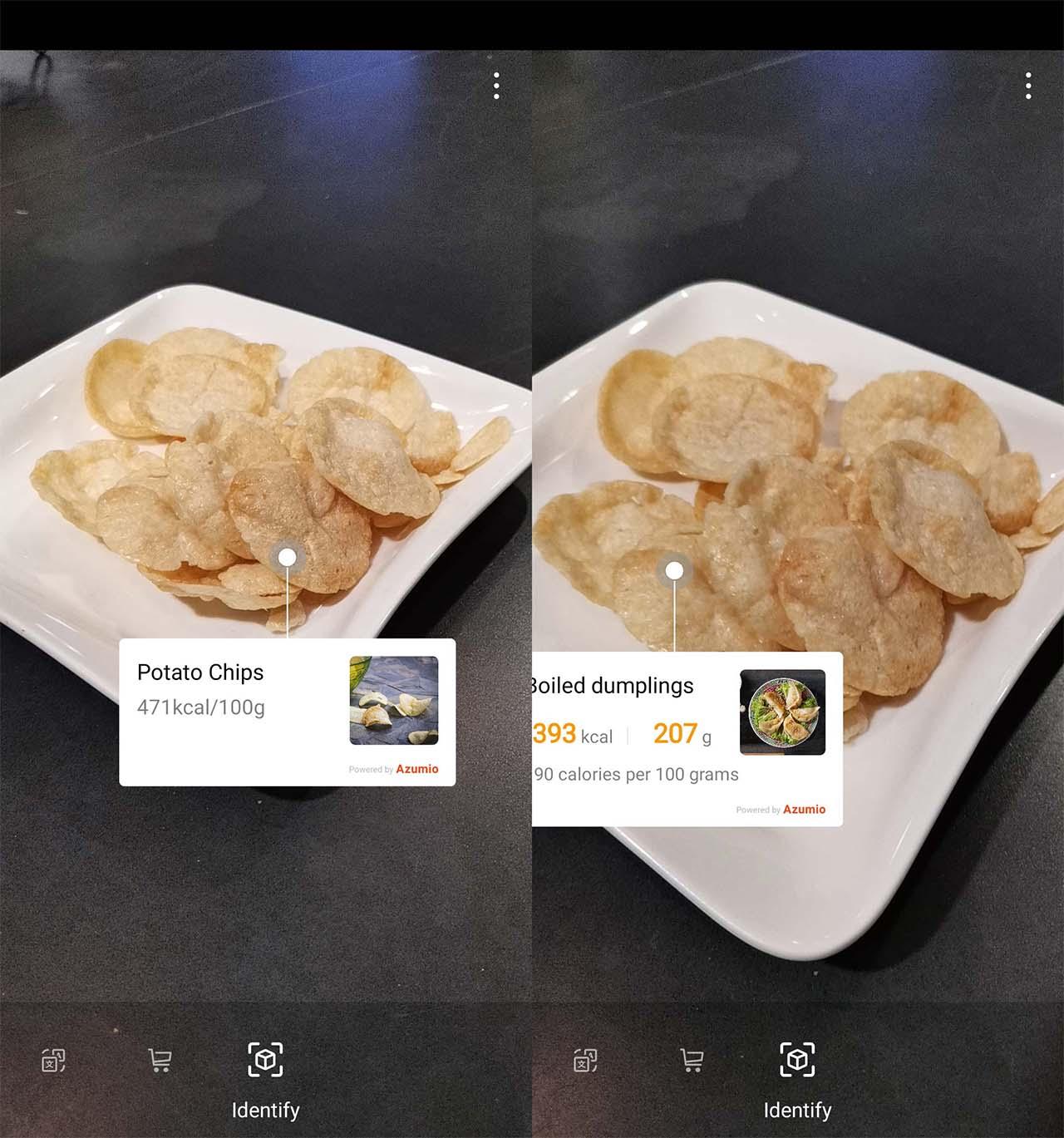 Interface da câmera do Honor View 20 tenta reconhecer prato de chips de batatas