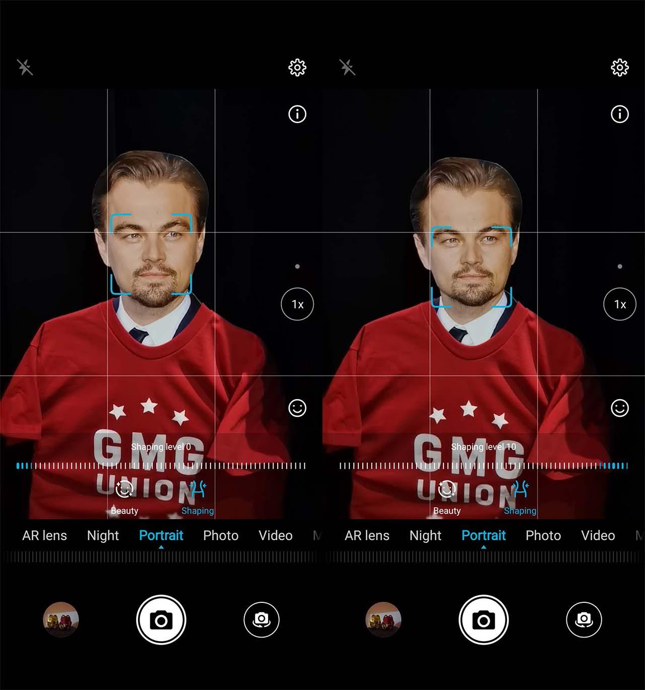 Interface da câmera do Honor View 20 emagrece rosto de Leonardo DiCaprio