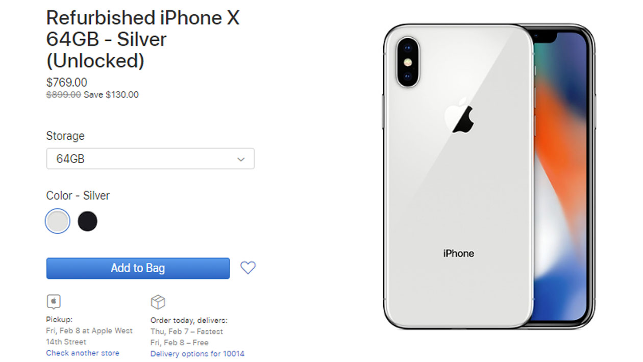 iPhone X recondicionado à venda na Apple Store dos EUA
