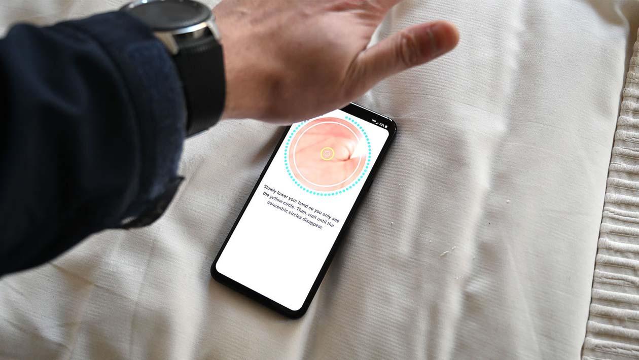 Tela de configuração de biometria da palma da mão do LG G8
