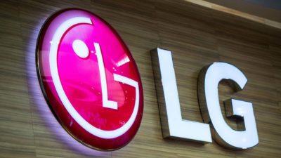 Logo da LG luminoso em parede