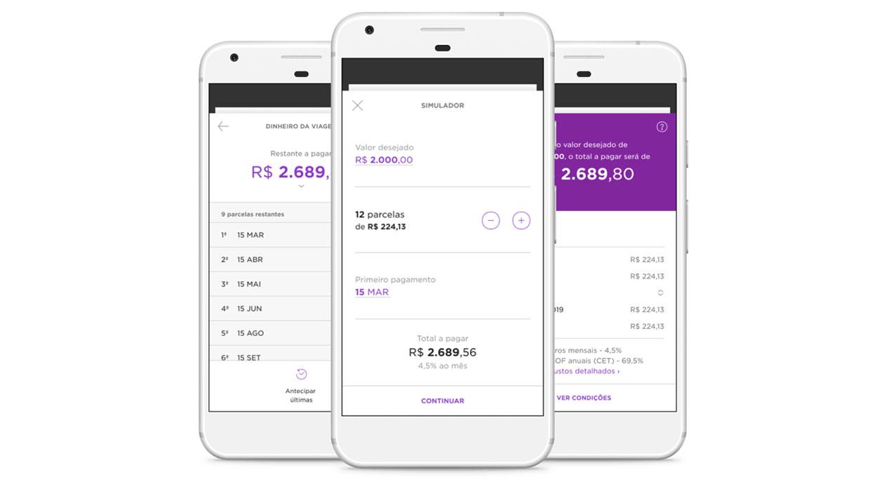 Telas mostram pedido de empréstimo pessoal pelo Nubank