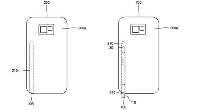 Outro recorte da patente registrada pela Samsung. Nele, há um desenho de um smartphone e a indicação de um espaço para alojar a caneta, enfiando verticalmente de baixo para cima em uma abertura no canto inferior direito.