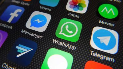 Ícones dos aplicativos Facebook, Messenger, WhatsApp e Telegram no iOS