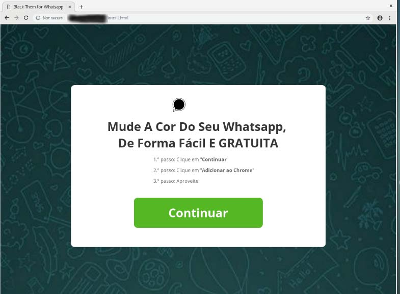 Page tries to convince users to install the extension on Chrome, to change the color of WhatsApp Web