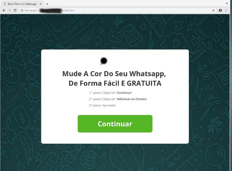 Página tenta convencer usuário a instalar extensão no Chrome para mudar cor do WhatsApp Web