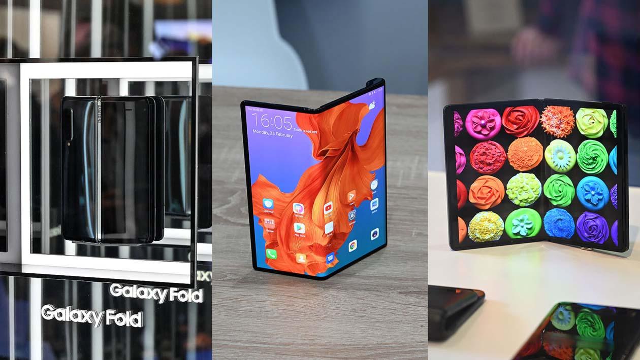 Imagens do Samsung Galaxy Fold, Huawei Mate X e conceitos de telas dobráveis da TCL