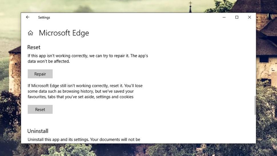 Função de reset do Microsoft Edge