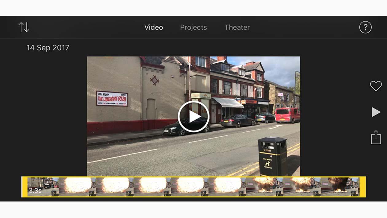 Tela do aplicativo iMovie, no iPad
