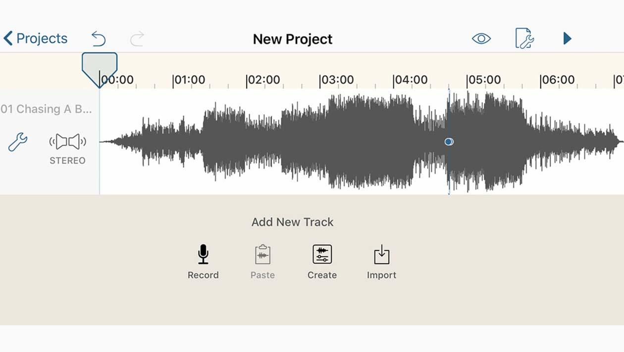 Tela do aplicativo de edição de áudio para iOS Hokusai