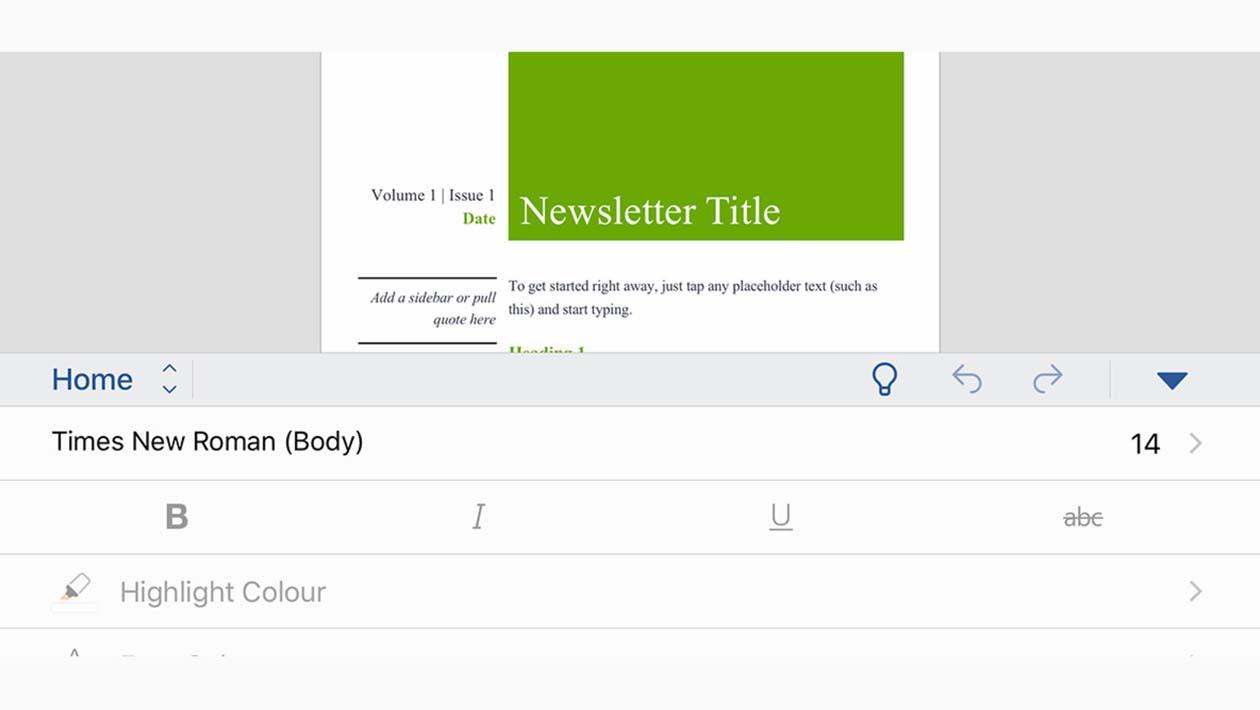 Tela do aplicativo do pacote Microsoft Office para tablet
