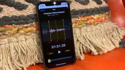 Tela do iPhone editando um arquivo de áudio
