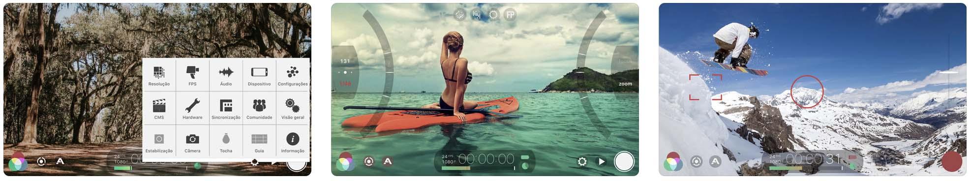 Telas do aplicativo FilmicPro
