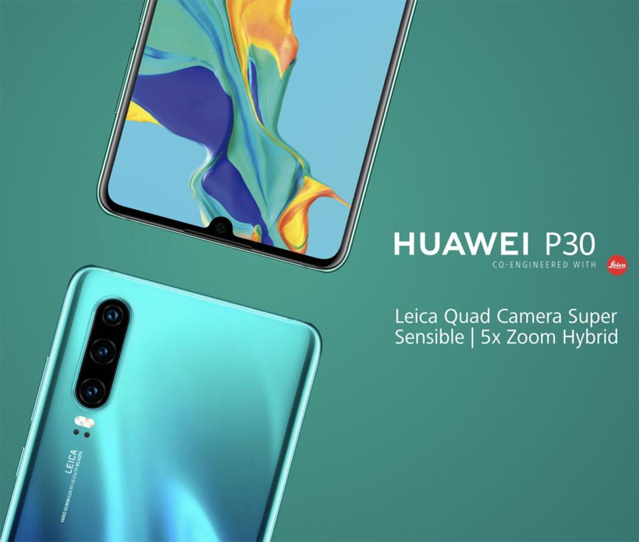 Imagem promocional mostra Huawei P30 de frente e de costas